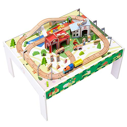 Teamson Kids - 85 pcs Train Set and Table Wooden Tracks and...