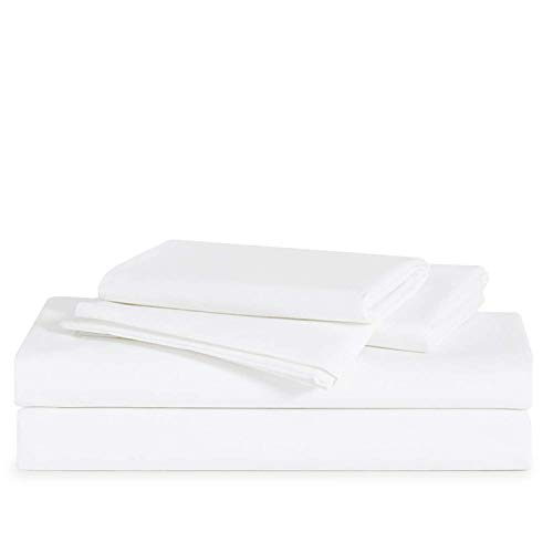 Brooklinen Solid White Luxe Core Sheet Set for Twin Size Bed - 100%...