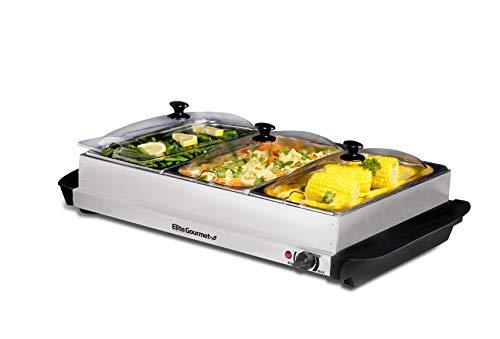 Elite Gourmet EWM-6171 Triple Buffet Server Food Warmer, Temperature...