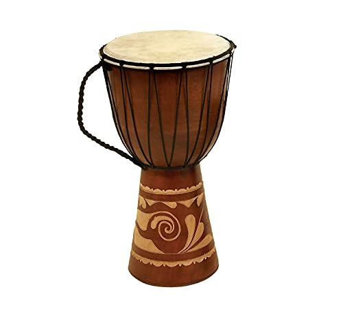 Deco 79 89847 Wood Leather Djembe Drum Home Décor Product, 16'H/9'W