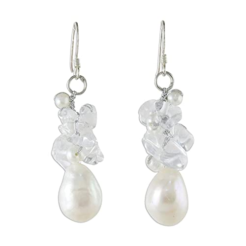 NOVICA Cultured Freshwater Pearl and Quartz Cluster Earrings with...