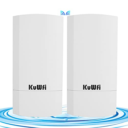KuWFi 2-Pack 300Mbps Wireless Outdoor CPE Kit Point-to-Point Wireless...