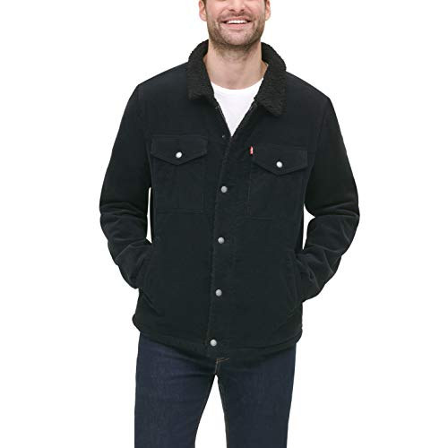 Levi's Men's Corduroy Sherpa Trucker Jacket, Black, X-Small