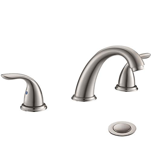 2 Handles 3 Holes Deck Mount Brushed Nickel Widespread Bathroom Faucet...