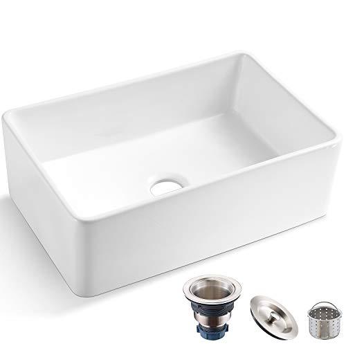 Koozzo 30-Inch Farmhouse Ceramic Kitchen Sink, Reversible Single Bowl...