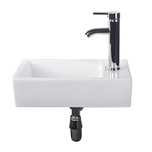 Walcut Bathroom Wall Mount Small Bathroom Sink Rectangle Corner White...