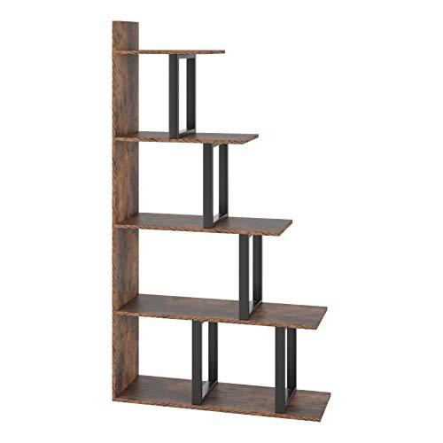 Homfa Wooden 5-Tier Bookshelf, Industrial Vintage Freestanding...