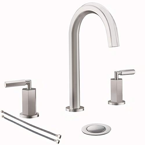 2 Handles 3 Holes 8 Inch Hexagonal Widespread Bathroom Faucet Brushed...