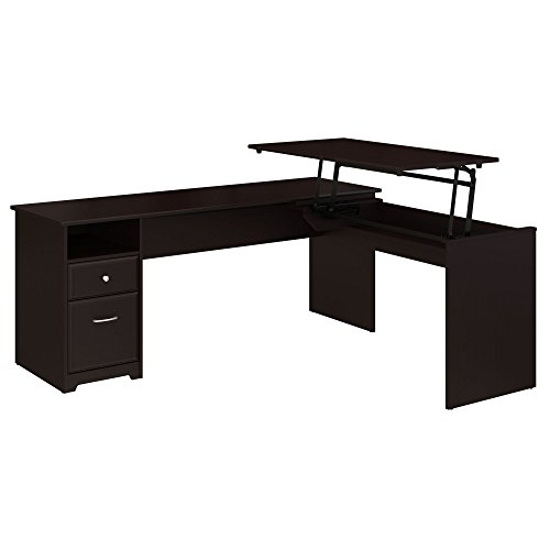 Bush Furniture Cabot 72W 3 Position L Shaped Sit to Stand Desk in...