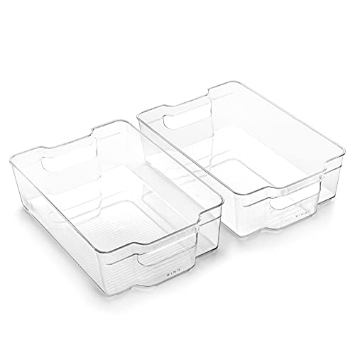 BINO | Stackable Plastic Storage Bins, Large - 2 Pack | THE STACKER...