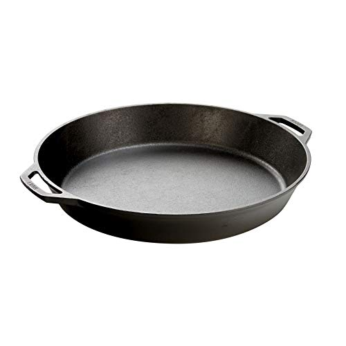 Lodge Seasoned Cast Iron Skillet with 2 Loop Handles - 17 Inch...