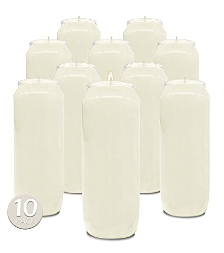 9 Day White Prayer Candles, 10 Pack - 7' Tall Pillar Candles for...