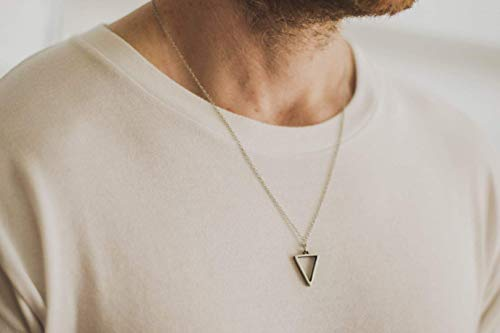 Triangle necklace for men, groomsmen gift, men's necklace with a...