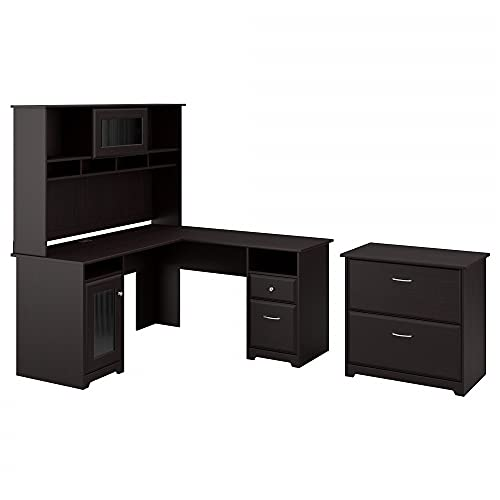 Bush Furniture Cabot L Shaped Desk with Hutch and Lateral File Cabinet...