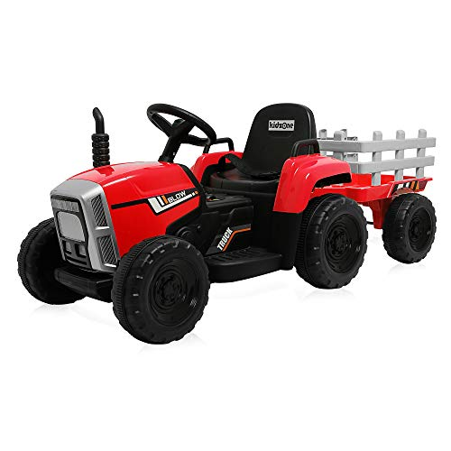 Kidzone Red 12V 7AH Kids Battery Powered Electric Tractor with Trailer...