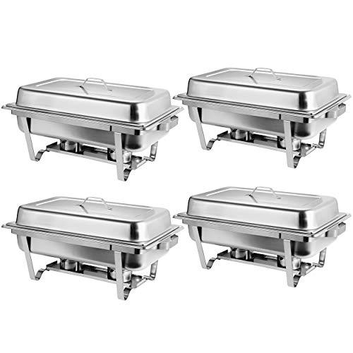 Rectangular Chafing Dish Full Size Chafer Dish Set 4 Pack of 8 Quart...