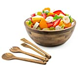 Archkitchen Acacia Wooden Salad Bowl Set with servers 12 inch