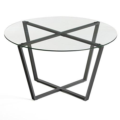 Mango Steam Metro Glass Coffee Table - Black Top/Black Base