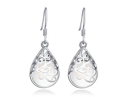 Wishing Tree 925 Sterling Silver Teardrop Filigree Dangle Earrings for...