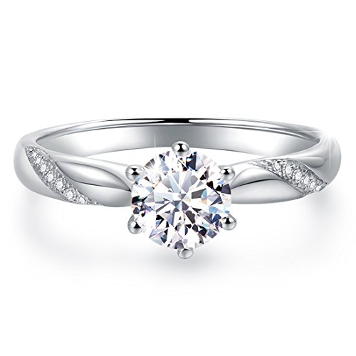 Stunning Flame Solitaire Engagement Ring Cubic Zirconia CZ in White...