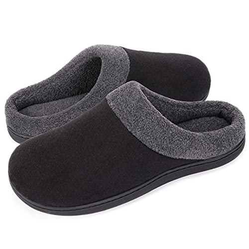 HomeIdeas Men's Woolen Fabric Memory Foam Anti-Slip House Slippers,...
