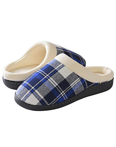 Latuza Men's Christmas Plaid Slippers Supportive Bedroom Shoes S Blue
