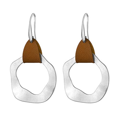 CrownUS Leather Hammered Earring Packs Boho for Women Ladies Silver...