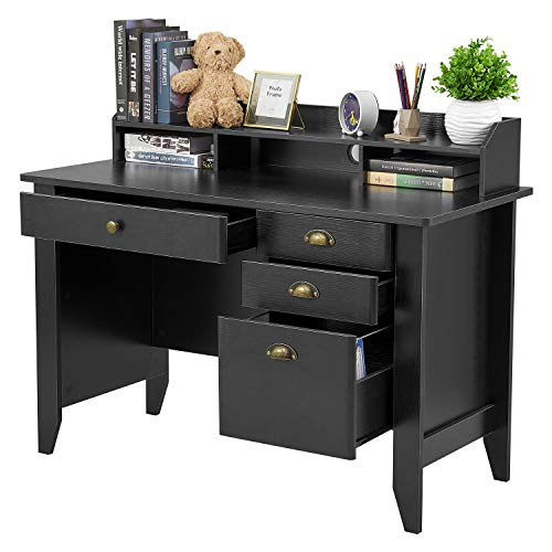 Computer Desk with 4 Drawers and Hutch Shelf, Home Office Desk Writing...