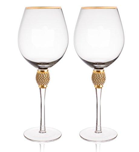 Trinkware Gold Rimmed Wine Glasses Set of 2 - Rhinestone Champagne...