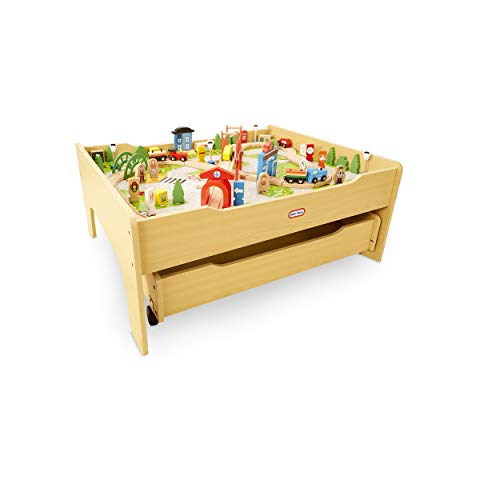 Little Tikes Real Wooden Train Table Set for Kids, Deluxe Over 80Piece...