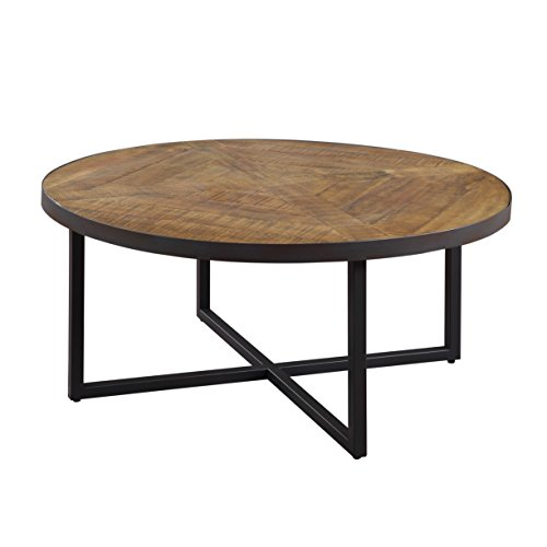 Emerald Home Denton Antique Pine Coffee Table with Round, Pieced Top...