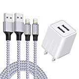 iPhone Charger, YUNSONG Nylon Braided Lightning Cable 2Pack 6ft Data...