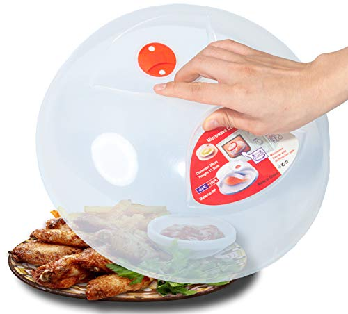 Large Microwave Plate Cover Easy Grip Microwave Splatter Guard Lid...