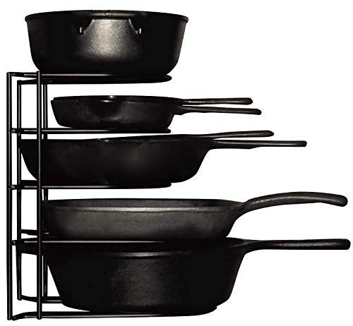 Heavy Duty Pots and Pans Organizer - For Cast Iron Skillets, Pots,...
