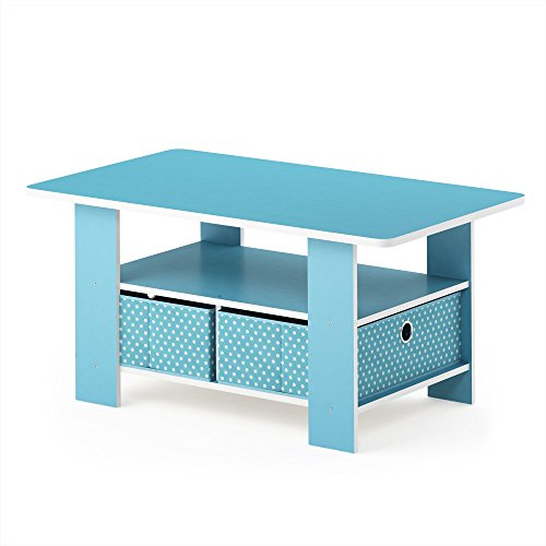 FURINNO Andrey Coffee Table with Bin Drawer, Light Blue/Light Blue