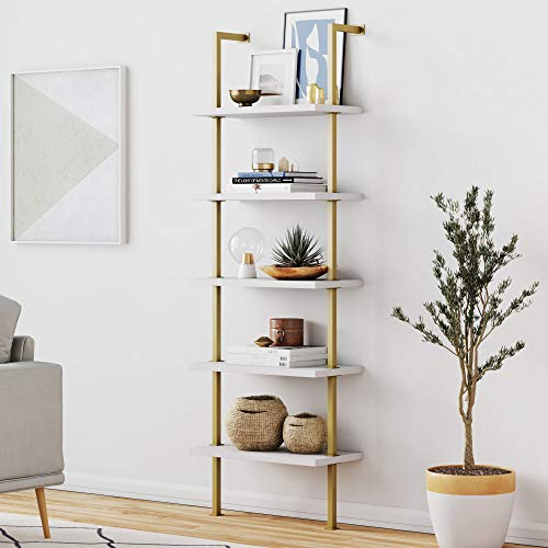 Nathan James Theo 5-Shelf Ladder Bookcase with Brass Metal Frame,...