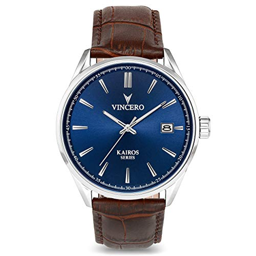 Vincero Luxury Men's Kairos Wrist Watch — Blue dial with Brown...