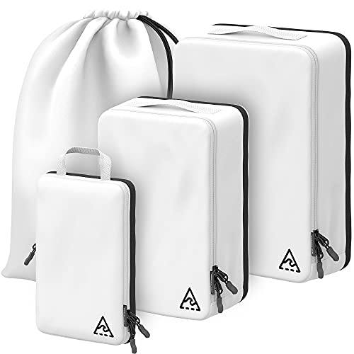 WELL TRAVELED 4-piece Compression Packing Cubes For Travel with...