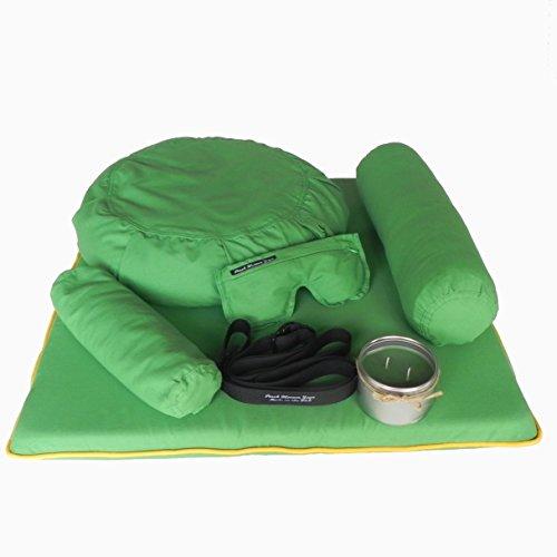 7 Piece Restorative Yoga Set -Zafu Meditation Pillow, Zabuton Cushion,...