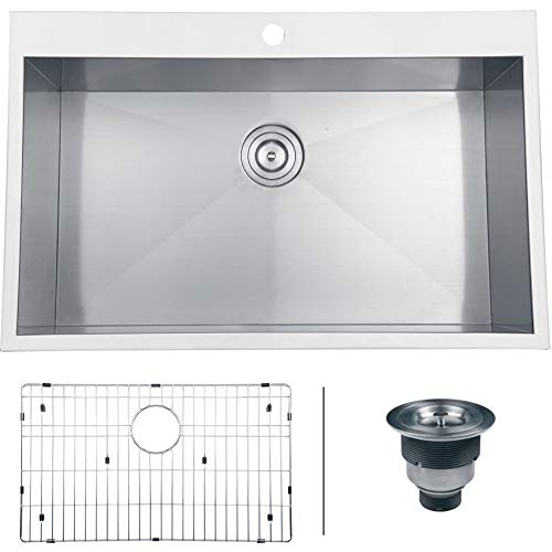 Ruvati RVH8000 Drop-in Overmount 33' x 22' Kitchen Sink 16 Gauge...