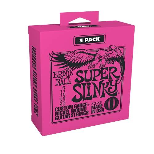Ernie Ball Super Slinky Electric Guitar Strings 3-Pack - 9-42 Gauge...