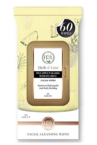 Herb & Luxe Face Wipes, Flip-Top Makeup Remover Facial Cleansing Wipes...