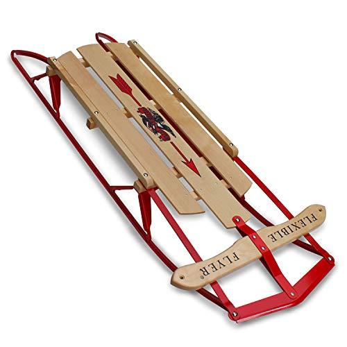 Flexible Flyer Metal Runner Sled. Steel & Wood Steering Snow Slider,...