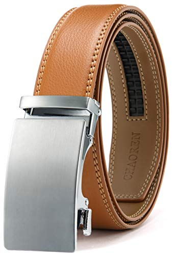 Mens Belt, Ratchet Belt Dress with 1 3/8' Genuine Leather, Slide Belt...