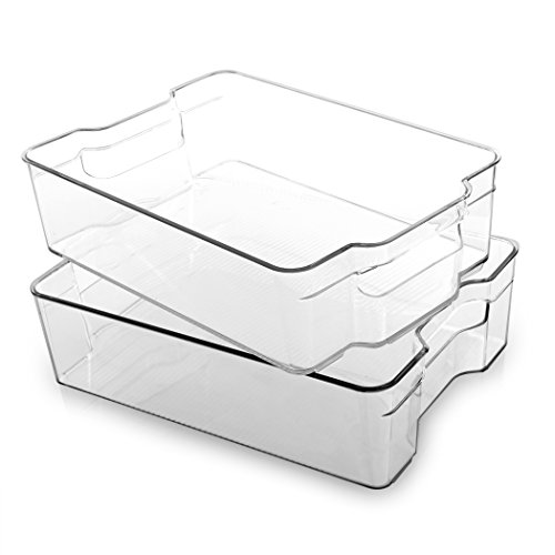 BINO Stackable Plastic Organizer Storage Bins, Large - 2 Pack - Pantry...