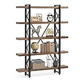 5 Tier Bookcase, LITTLE TREE Solid Wood 5-Shelf Industrial Style...