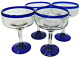 Mexican Hand Blown Glass – Set of 4 Hand Blown Margarita Glasses (16...