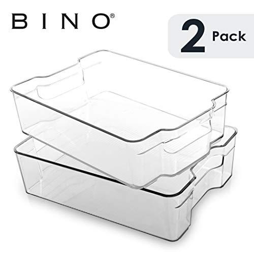BINO Stackable Plastic Organizer Storage Bins, Large - 2 Pack - Pantry...
