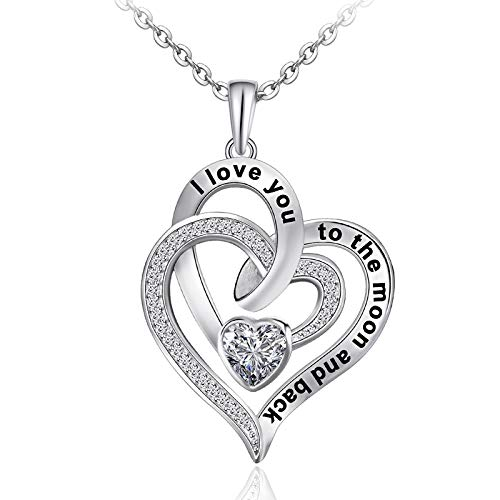 Distance Heart Necklace for Women 925 Sterling Sliver Heart Jewelry I...