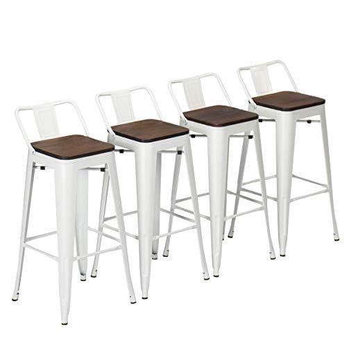 Yongchuang Metal Bar Stools Set of 4 Industrial 24' Seat Height...